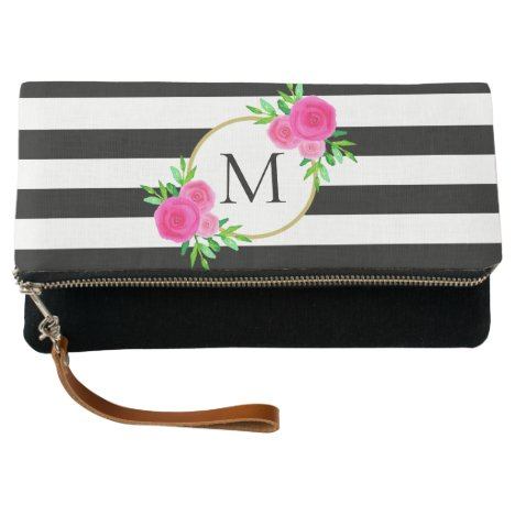 Black White Striped Chic Hot Pink Floral Monogram Clutch