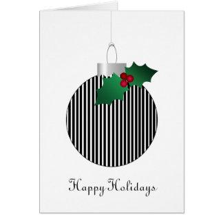 Black White Striped Christmas Holly Ornament Card