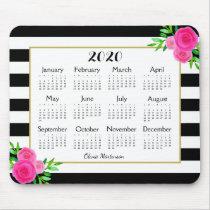 Black White Striped Floral Monogram 2020 Calendar Mouse Pad