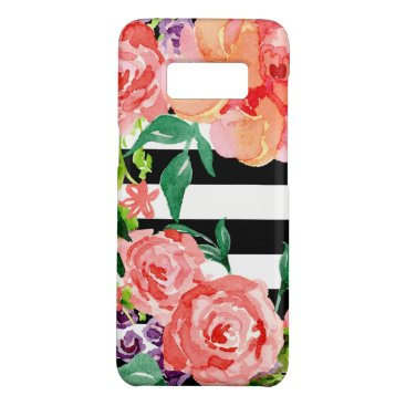 luxuryweddings Black White Striped Floral Pink Rose Purple Flower Case-Mate Samsung Galaxy S8 Case
