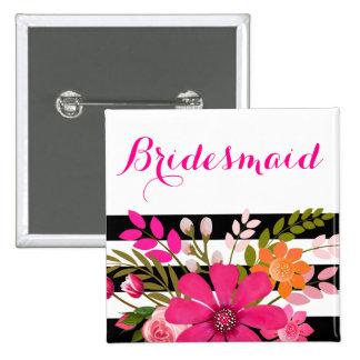 Black White Striped Flowers Bridesmaid | fuchsia Button