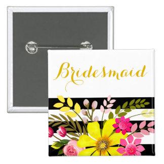 Black White Striped Flowers Bridesmaid | yellow Pinback Button
