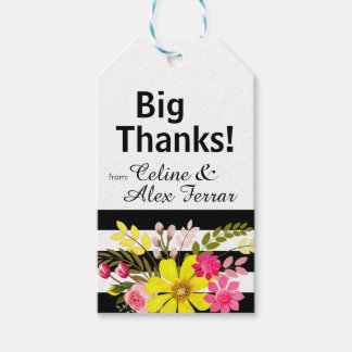 Black & White Striped Flowers Gift Tag | yellow
