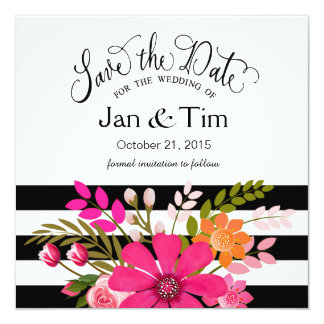 Black White Striped Flowers Save the Date fuchsia Card