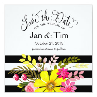 Black White Striped Flowers Save the Date yellow Card