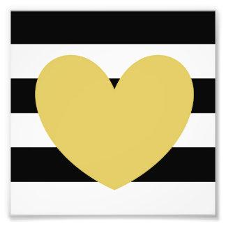 """Black+White Striped Gold Heart 6"""" x 6"""" Kodak Photo"""