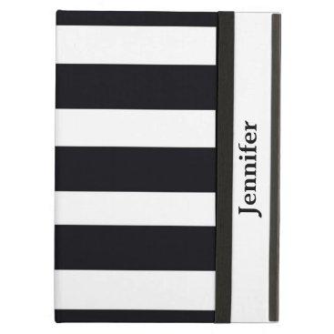 Black & White Striped iPad Air Case Personalized