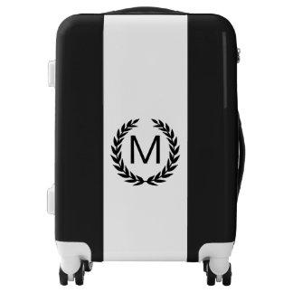 Black & White Striped Laurel Wreath Monogram Luggage