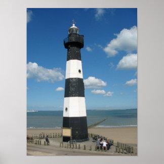Black White Striped Lighthouse Photo Poster Print