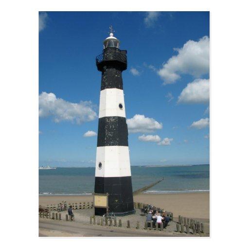 Black White Striped Lighthouse Postcard