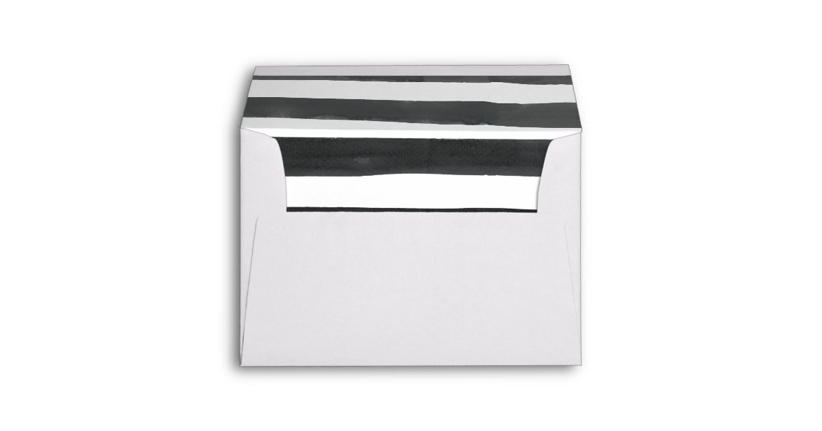 Black White Striped Lined Invitation