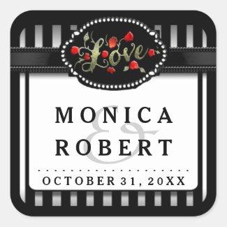 Black White Striped Love Red Roses Wedding Label