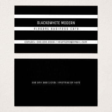 Professional Business black&white striped modern elegant business card