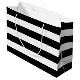 Black White Striped Modern Wedding Party Large Gift Bag