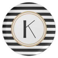 Black & White Striped Monogram Dinner Plate