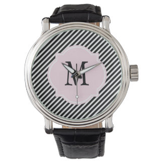 Black & White Striped Monogram Watch