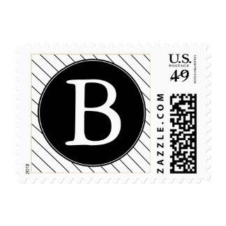Black & White Striped Monogrammed Postage Stamps