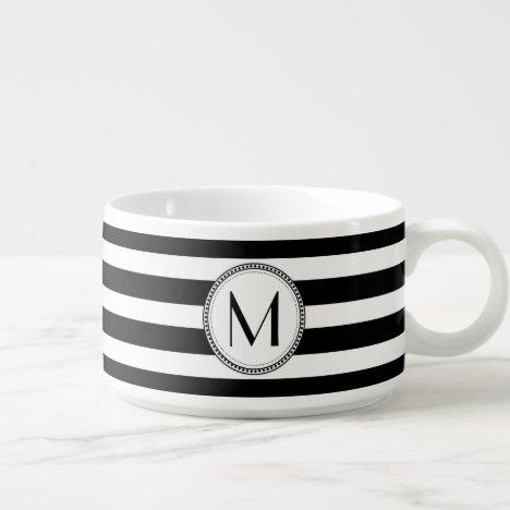 Black   White Striped Pattern Monogram Bowl