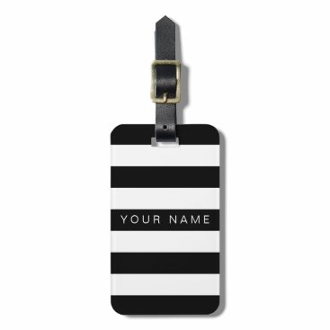 StripyStripes Black & White Striped Personalized Luggage Tags