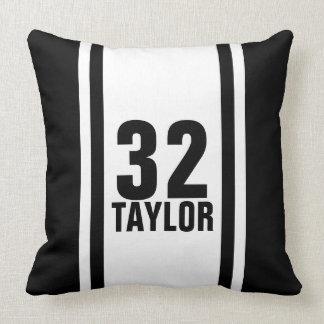 Black & White Striped Sports Jersey Throw Pillow