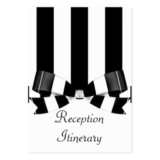 Black & White Striped Wedding Classic Large Business Card