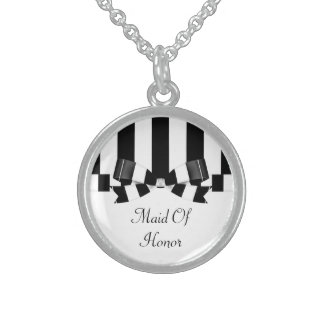 Black & White Striped Wedding Classic Sterling Silver Necklace