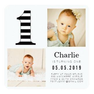 "Black & White Stripes 1st Birthday Photo Cards 5.25"" Square Invitation Card"