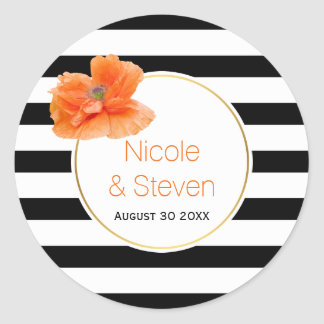 Black white stripes and coral poppy flower wedding classic round sticker