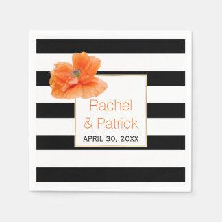 Black, white stripes and coral poppy wedding paper napkin