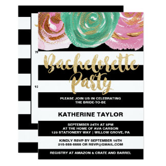 Black White Stripes and Gold Bachelorette Party Card