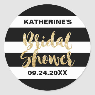 Black White Stripes and Gold Text Bridal Shower Classic Round Sticker
