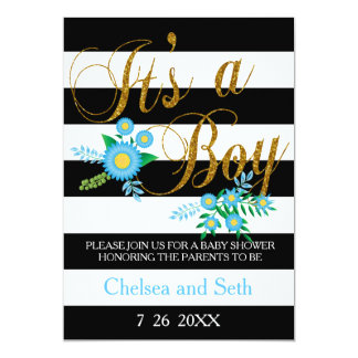 Black & White Stripes | Blue Floral | Baby Shower 5x7 Paper Invitation Card
