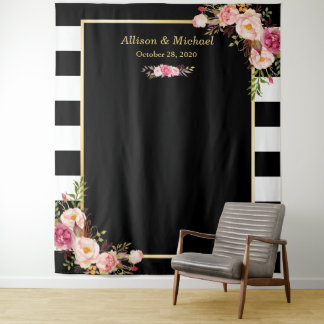 Black White Stripes Blush Floral Wedding Backdrop