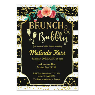 Black & White Stripes Brunch and Bubbly Invitation
