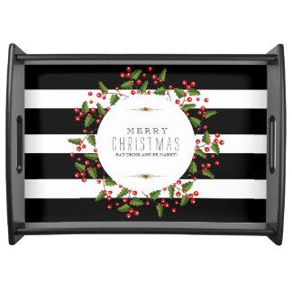 Black & White Stripes & Christmas Berries Wreath Serving Tray
