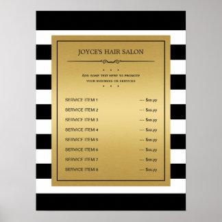 Black White Stripes Classic Gold Service Menu Poster