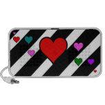 Black White Stripes Colorful Hearts iPod Speaker