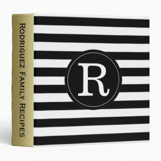 Black & White Stripes Custom Gold Monogram Vinyl Binders