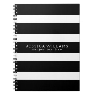 Black& White Stripes Custom Photo Notebook