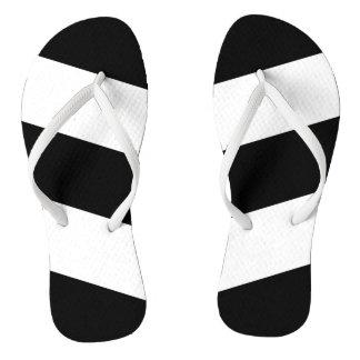 Black White Stripes Flip Flops