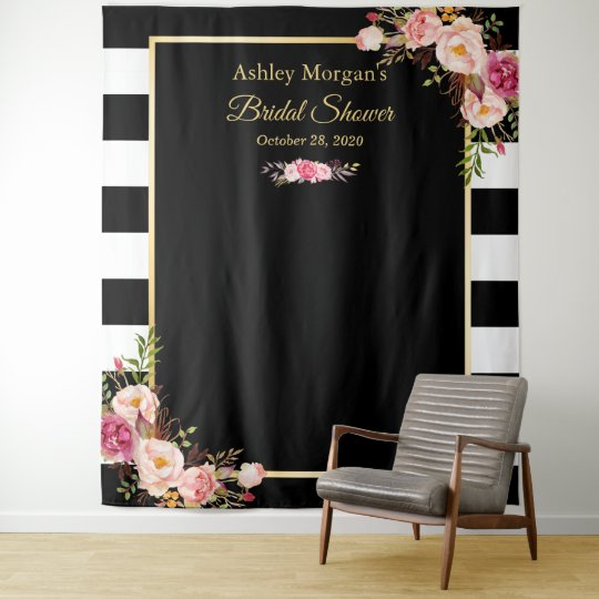 black white stripes floral bridal shower backdrop