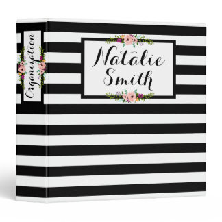 Black & White Stripes   Floral | Custom Binder