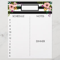 Black & White Stripes   Floral | Daily Planner