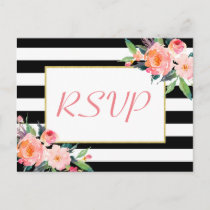 Black White Stripes Floral Gold Wedding RSVP Reply Invitation Postcard