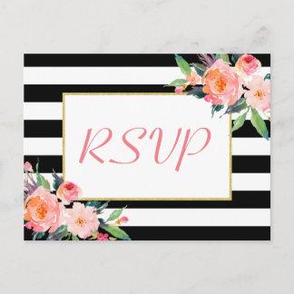 Black White Stripes Floral Gold Wedding RSVP Reply Invitation Postcard