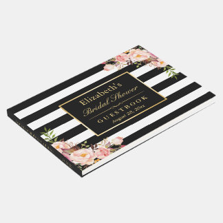 Black White Stripes Floral Wedding Bridal Shower Guest Book