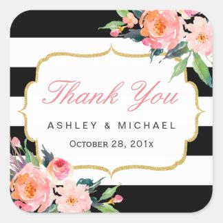 Black White Stripes Floral Wedding Favor Thank You Square Sticker
