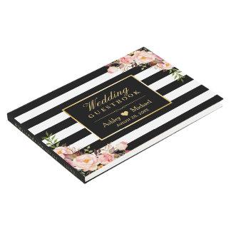 Black White Stripes Floral Wedding Guest book