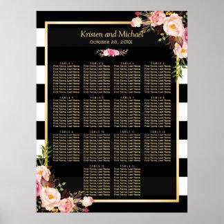 Black White Stripes Floral Wedding Seating Chart Poster