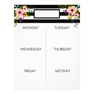 Black & White Stripes + Floral | Weekly Planner Letterhead